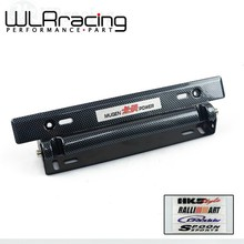WLRING- MUGEN Style NEW RACING License plate frame Adjustable Carbon Fiber Look Bumber Plate with Five kinds of logo stickers(China)
