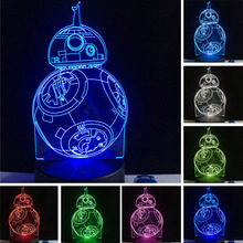 Star war BB 3D USB Led night light 7 color changing Christmas Mood touch kid/children living/bedroom table/desk Lamp lighting(China)