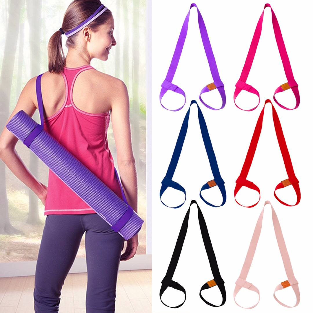 Portable Yoga Mat Strap Sling Sports Cotton Belt Fitness Gym Adjustable Carrier Shoulder Carry Strap Belt Exercise Stretch Belt