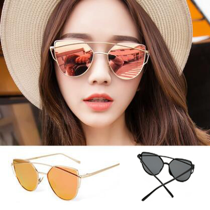 OFIR 2017 New Women 8 Colour Luxury Cat Eye Sunglasses Double-Deck Frame UV400 Sexy Sun Glasses gafas de sol mujer YF-86(China (Mainland))
