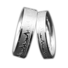 1Piece Fashion Design Titanium Rings ECG Love Ring For Men And Women Couple Finger Rings Personalized Jewelry Lovers Ring