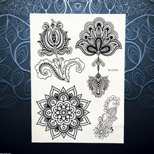 1PC Black Flower Nontoxic Tattoo Indian Henna Mehndi Pendant Design Waterproof Arm Back Decal Temporary Tattoo Sticker PBMLS1004(China)
