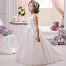 Simple Lace Flower Girl Dresses for Weddings 2017 Appliques Spaghetti A Line First Communion Dresses for Girls Sweep Train