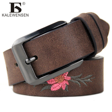 New 2017 Fashion Women Belt Brand Designer Hot Ladies Faux Leather Metal Buckle flower Straps Girls Fashion Accessories LJ042(China)
