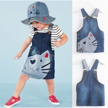 2017  Denim Overalls Dresses Hot New Year Hello Kitty Dress 1 Piece Baby Girls Kids Cat Dress Braces Clothes For Age 2-7 Years
