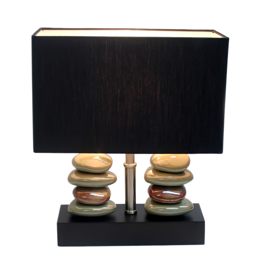 Elegant Designs Rectangular Dual Stacked Stone Ceramic Table Lamp with Black Shade (3)