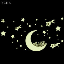 XZJJA Luminous Stickers Stars Moon Glow In The Dark 3D DIY Night Light Wall Art Home Decal For Kids Baby Room Bedroom Home Decor