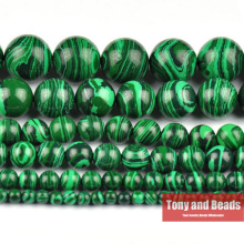 "Free Shipping Natural Stone Synthetic Malachite Round Loose Beads 15"" Strand 3 4 6 8 10 12 14MM Pick Size For Jewelry  SAB15"