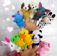 10PCS Farm Zoo Animal Finger Puppets Toys Boys Girls Babys Party Bag Filler NEW(China)