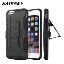 HAISSKY For iPhone 7 Case 7 Plus iPhone 6 6S 6Plus 5 5S SE Cover Military Hybrid Cases Belt Armor Clip Stand Coque Accessories