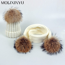 MOLIXINYU 2pcs/lot Children's Winter Hat & Scarf Pom Poms Hat Baby Winter Cap Warm Knit Cap Beanie Hats Scarfs For Girl Boy Baby(China)
