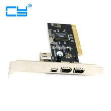 PCI Firewire 400 IEEE 1394 1394A Dual 6pin & 4pin 3 Port Card Work for Windows 7 & 8(China)