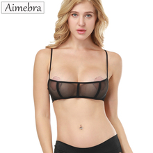Aimebra black genie push-up sheer bra Stretch gauze triangle cup bras The high quality women sexy seductively Lingerie bralette(China)