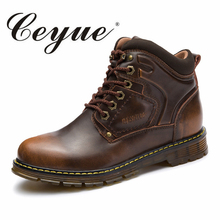Ceyue New Autumn Men Boots 2017 Brand Male Ankle Leather Boots Retro Safety Boots Male Fashion Breathable Walking Men Work Shoes(China)