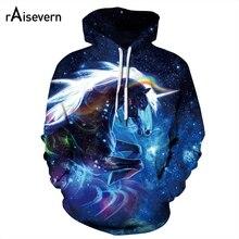 Raisevern Cute Rainbow Unicorn 3D Hoodies Galaxy Unicorn Prints Hooded Sweatshirt Cool Hoodie Pullovers Women Men Dropship