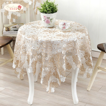 1 Piece European Elegant Lace Embroidered Table Cloth/ Glass Yarn Tea Table Cloth Round Tablecloth/ Modern Adornment Tablecloth