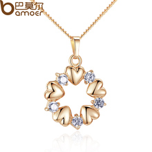 BAMOER Luxury Gold Color Heart Necklaces & Pendants with AAA Zircon For Women Anniversary Jewelry JIN018(China)