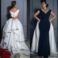 Sexy Black and white Mermaid Evening Dresses V Neck Tiered Skirt Custom Made Saudi Arabic Formal Gowns Shopping Sales Online