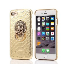 Luxury Sexy Snake Skin Phone Cases Hard Back Shell For iPhone 6 6S 7 Plus 8 8 Plus 3D Lion Head Ring Stand Cover Coque Capa 007C