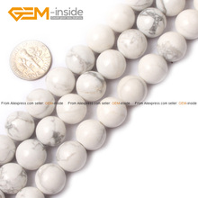 Gem-inside Natural Round Smooth Howlite Stone Beads For Jewelry Making 4-16mm Strand 15inches DIY For Jewellery(China)
