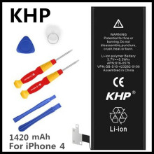 100% Original Brand KHP Phone Battery For iphone 4 Real Capacity 1420mAh With Machine Tools Kit Mobile Batteries