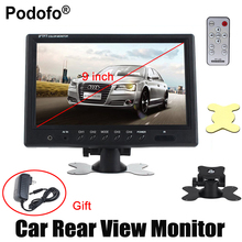 "Podofo 9"" TFT LCD Car Monitor 4 Split Screen Car Headrest Rearview Monitor with 4 RCA Connectors 6 Mode Display DC Power Adapter"