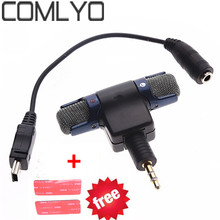 COMLYO External Stereo Mic Microphone with 3.5mm to Mini USB Micro Adapter Cable For GoPro Hero 3 3+ 4 AEE Sporting Camera(China)
