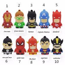 KRY 2017 Presente superhero avenger/Superman/Batman/Homem Aranha pendrive Usb 2.0 flash drive Usb de 8 GB 16 GB 32 GB 64 GB dese