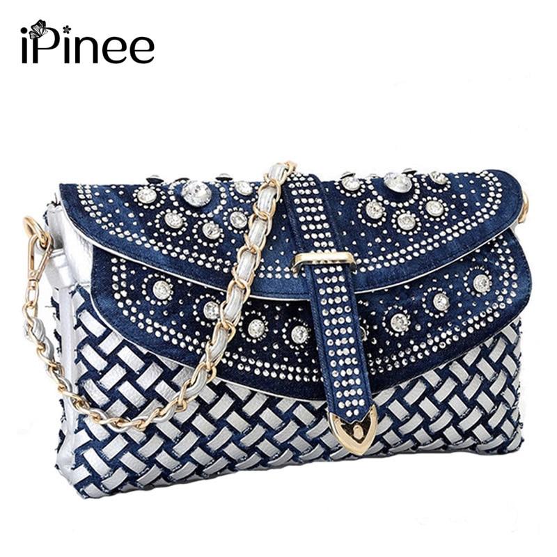 iPinee Fashion women bag 2017 new casual lady shoulder bags designer handbags high quality weaving jean bags woman purses<br>