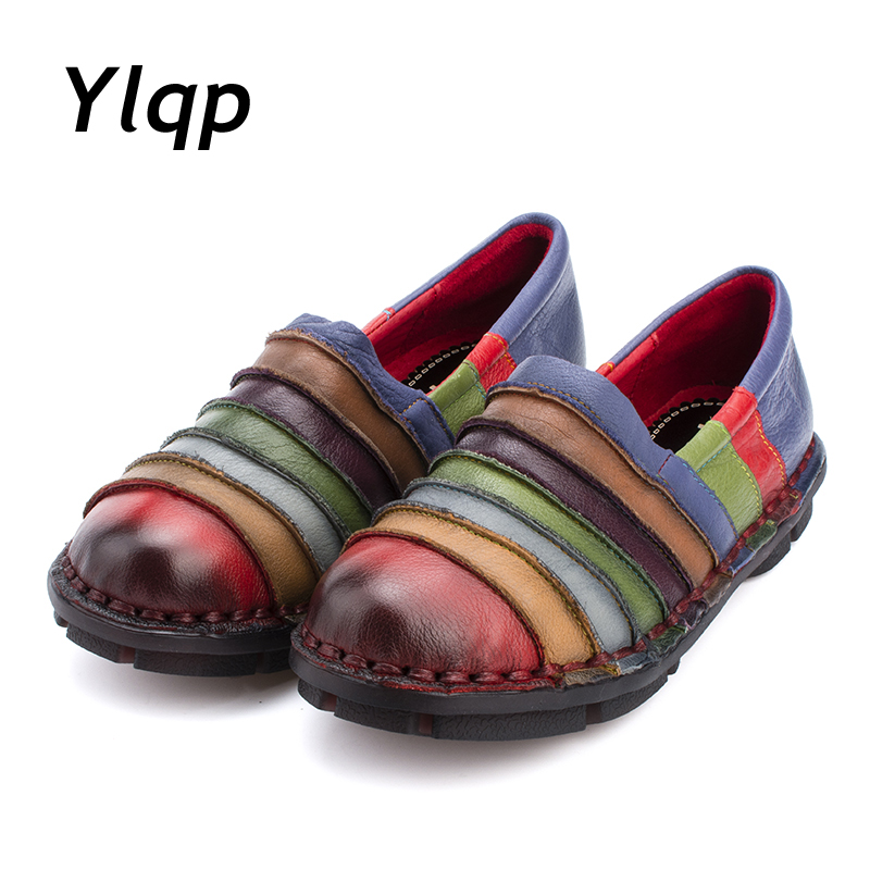 2017 New Soft Soles Genuine Leather Shoes Women Personality Casual Women Fashion Shoes Handmade Shoes Mixed Colors Lady Flats