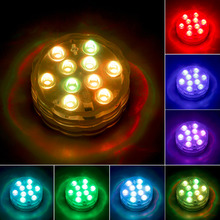 Brand New  RGB 10-LED Submersible Waterproof Birthday Wedding Party Light Remote Control Free Shipping