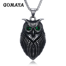 GOMAYA Mens Necklace Exquisite Owl Bird Austria Rhinestone Pendant Long Necklace Link Chain Collar(China)