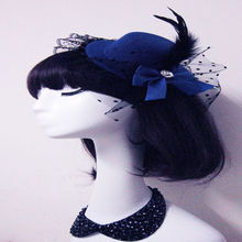 1 pcs  Lady Mini Feather Rose Top Hat Cap Lace  Hair Clip Hairpins  Costume Accessory