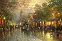 Thomas Kinkade  evening on the avenue- art painting prints on canvas for living room wall decor,wall art picture,free shipping