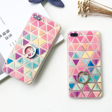 For iPhone 5 5S SE 6 6S Plus 7 7 Plus Colorful Triangle & Holder Back Covers Hard Scrub Anti Shock Mobile Phone Cases YC2047