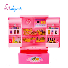 Baby Simulation Refrigerator Pretend Play Brinquedo Plastic Pink Toys Girls Kitchen Toys Lighting  Mini Appliances Cute Gift