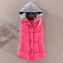 high quality Women's autumn and winter detachable hood vest new Slim hooded cotton vest fashion glossy female models down vest(China)