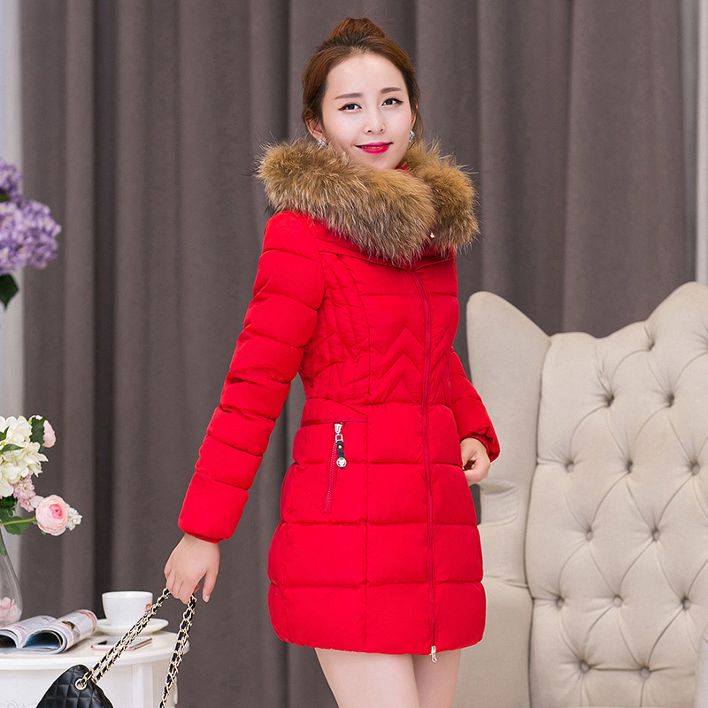 2017 Winter New Fashion Slim Solid Color Medium Long Size Long Sleeve Hooded Fur Collar Large Size Causal Women Down CoatОдежда и ак�е��уары<br><br><br>Aliexpress