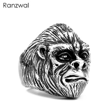 Ranzwal Punk Men Stainless Steel Rings Gorilla Head Finger Ring Gothic Animal Jewelry US SIZE 7~13 MRI109