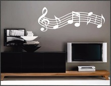 Musical Staff Music Decal, Vinyl Wall Lettering Wall Decals, Vinyl Letters, Wall Sticker Quotes, Musical Notes Decor A691(China)