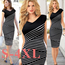 Buy New Fashion 4XL Women Summer Dress 2017 Sexy Pencil Dress Plus Size Casual Striped Maxi Party Dresses V Neck Vestidos de festa for $6.74 in AliExpress store