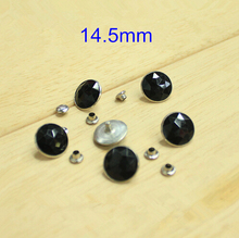 Promotion !! 100 Sets Black Color Faceted Acrylic Bead With Silver Metal Base and Caps 14.5mm - Free Shipping(China)