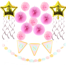 14pc First Birthday Party Decoration Set Party Supplies 1st Party Banner/Garland/Metallic Swirls/Poms/Balloons/Paper Fans for Ba(China)