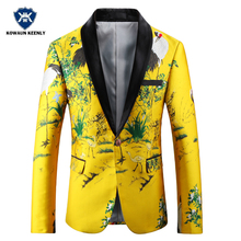 Men Yellow Printed Blazer Slim Fit Floral Embroidery Mens Stage Wear Casual Prom Blazer Jacket Nightclub Clothes for Men 4XL 5XL(China)