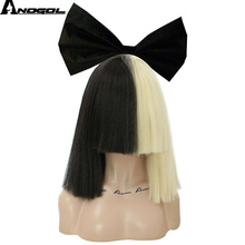 Anogol Yaki Straight Style Cosplay Wigs Flat Bangs Half Blonde Half Black With Red White Bow Knot For Halloween(China)