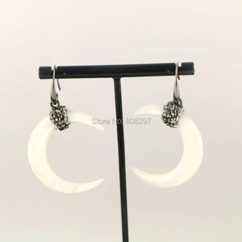 New Style 4Pairs White Shell Earring, Paved Crystal Crescent Earrings, Charm Shell Earrings