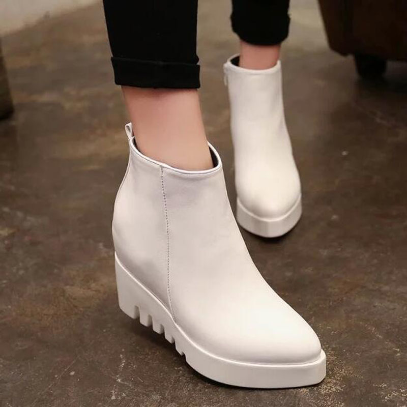 2016 Winter Hot Sale Women Leather Pointed Toe Platform Wedge High Heels Ankle Boots Casual Zipper Short Martin Boots Size 35-39<br><br>Aliexpress