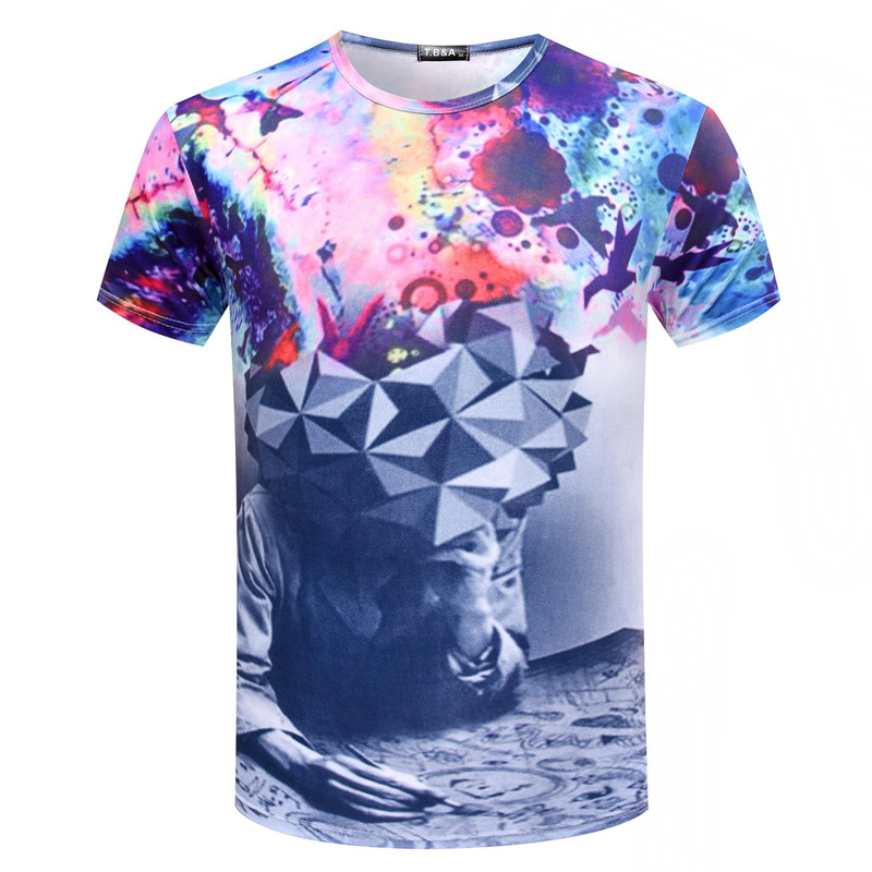 Brand New Fashion Men Thinker 3D Printing T Shirt Unisex Abstract T-shirt Brain Storm/Water Driplet/Lightn/Clown Tee Tops TX91-C(China (Mainland))