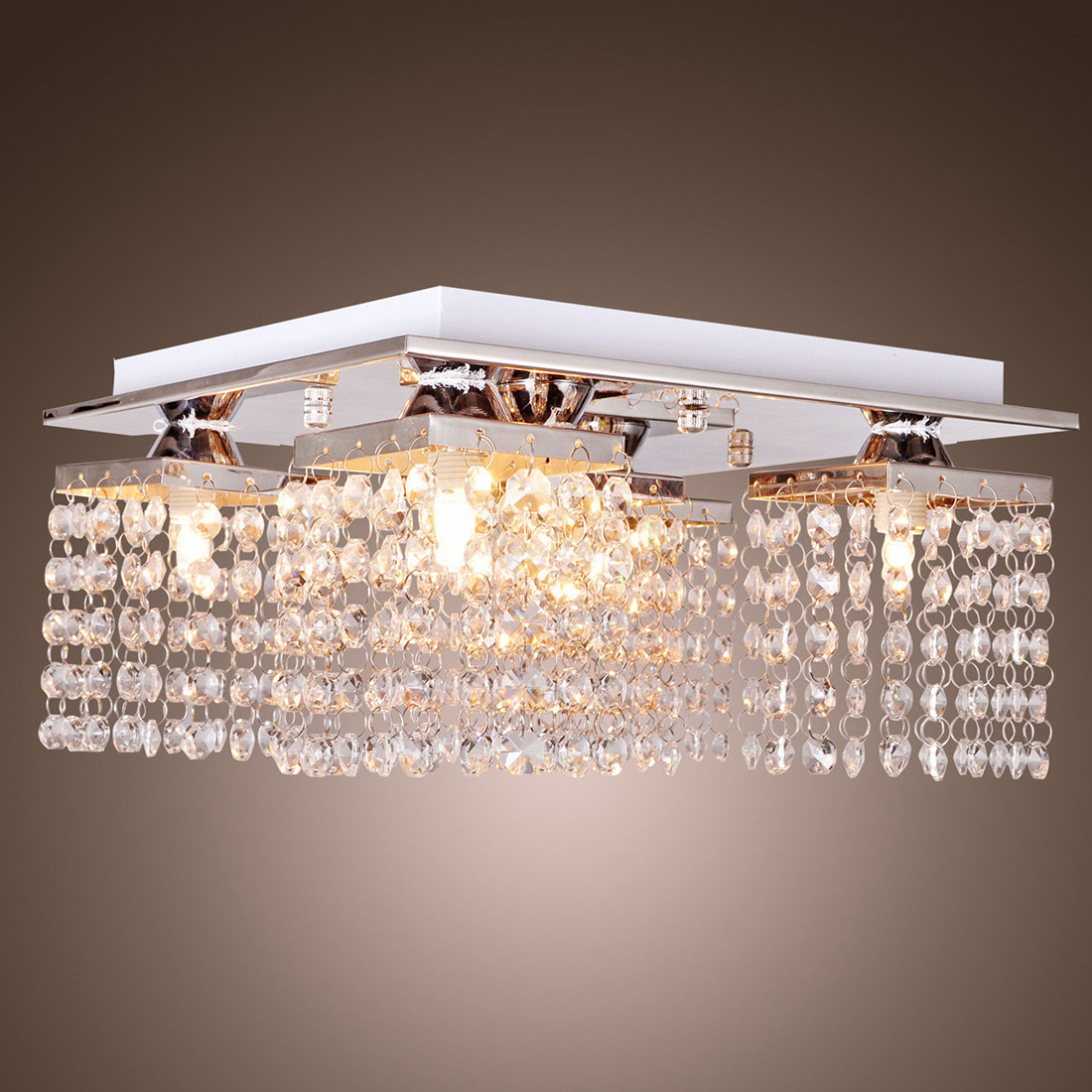 NFLC-Crystal Chandelier Ceiling Light Lamp Pendant Fixture Flush Mount Square<br><br>Aliexpress