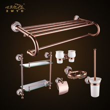 All copper bathroom hardware kit, ceramic bathroom pendant, rose gold shelf, pendant can be customized processing(China)